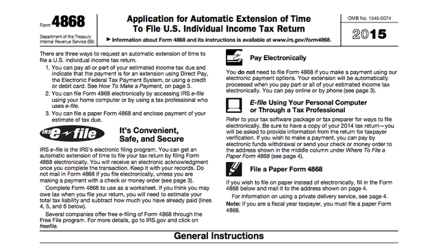 2015 Taxes Need More Time Apply For An Extension