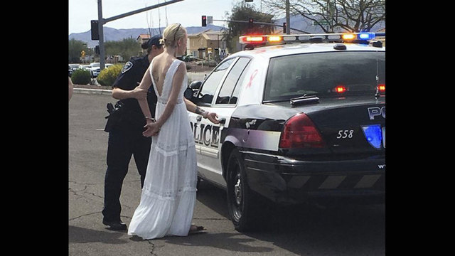 Impaired bride crashes on her way to her wedding say police
