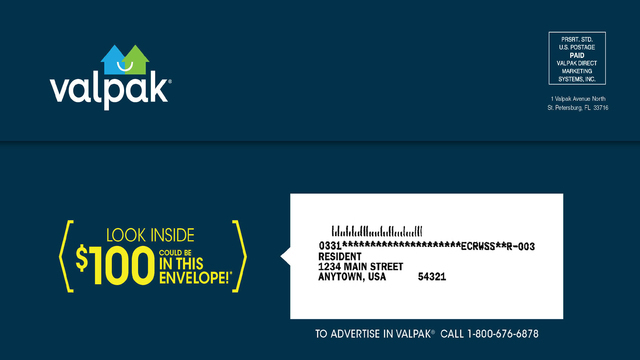 Valpak mailing out $100 checks in some of its coupon envelopes